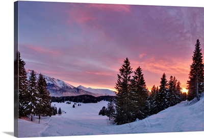 Sunset over snowy forest in French Alps near Grenoble.