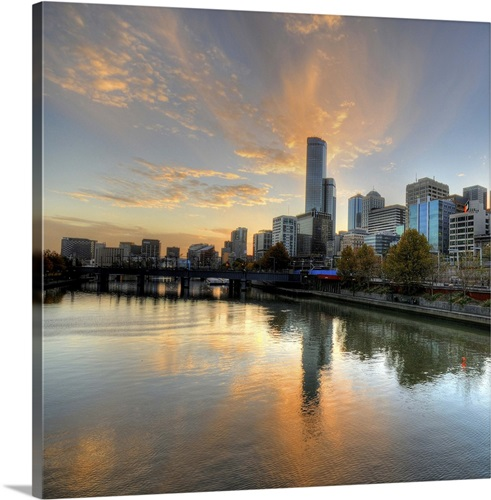 Contemporary Australian Home Architecture On Yarra River: Sunset Over The Yarra River, Melbourne, Australia Wall Art