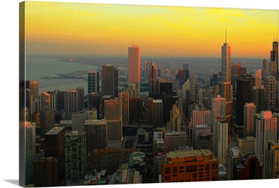 Sunset view at Chicago, US.