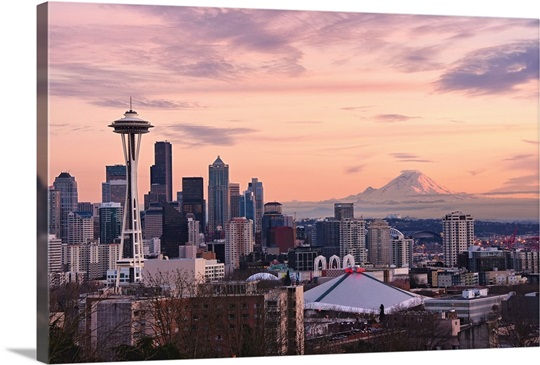 Seattle Wall Art sunset view of downtown seattle and mount rainier in distance wall