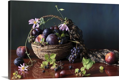 Table on bowl of fruit and violin.