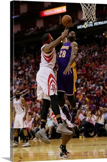 Tarik Black of the Los Angeles Lakers attempts to dunk