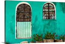 Teal wall and windows, Quintana Roo, Mexico