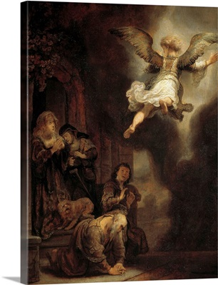 The archangel Raphael leaving the family of Tobias by Rembrandt
