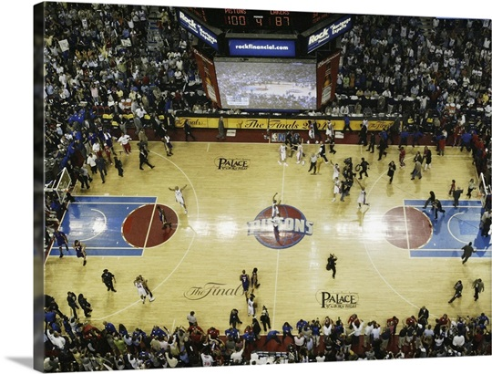 The Detroit Pistons celebrate after defeating the Los Angeles Lakers ...