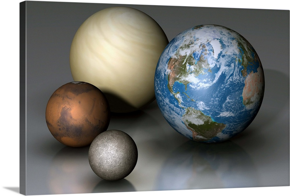 The four terrestrial planets compared in scale Wall Art, Canvas ...