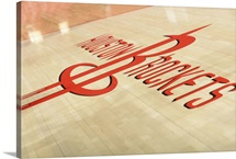 The Houston Rockets logo on the floor  at the Toyota Center in Houston, Texas