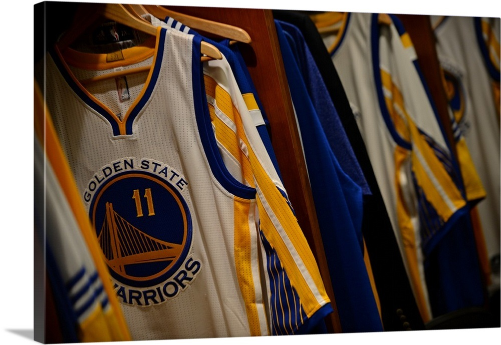 quality design d8e42 4993c The jersey of Klay Thompson of the Golden State Warriors hangs in the  locker room