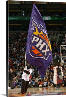 The Phoenix Suns Gorilla waves a giants Suns flag during the game