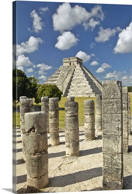 The Pyramid of Kukulkan, a Mayan ruin, as seen from the Thousand Columns