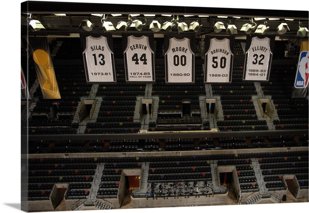 100% authentic c99ee 8f6ff The San Antonio Spurs' retired jerseys are displayed at The ATT Center