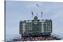 The scoreboard at Wrigley Field in Chicago, Illinois, home of the Cubs