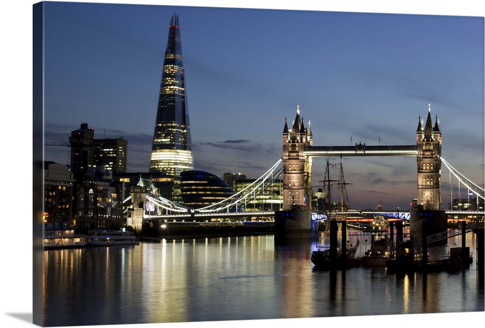 The Shard Stands Behind The Tower Bridge With The River Thames London England Wall Art Canvas Prints Framed Prints Wall Peels Great Big Canvas