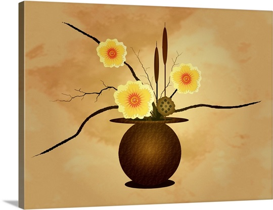 Three yellow and red flowers in vase with cattail and lotus flower ...