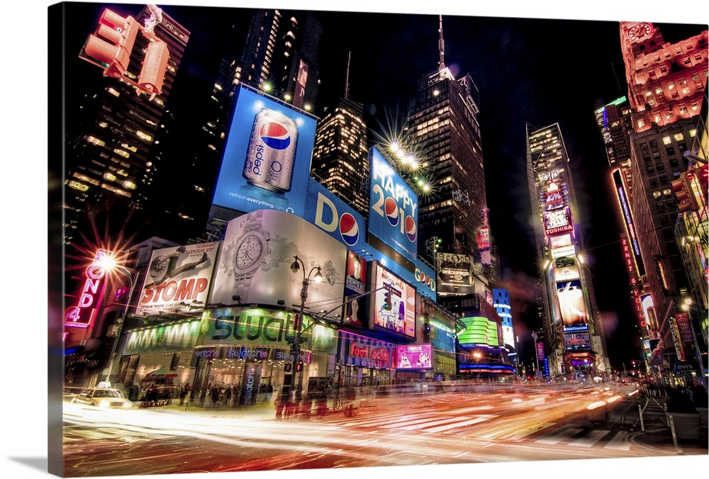 Times Square At Night With Glowing Neon Car Light Trails Wall Art Canvas Prints Framed Prints Wall Peels Great Big Canvas