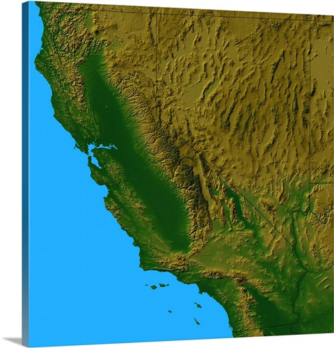 Topographic map of California and Nevada Wall Art, Canvas Prints ...