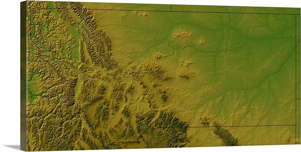 Topographic Map Of Montana Wall Art Canvas Prints Framed Prints