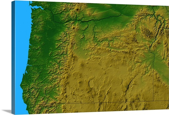 Topographic Map Of Oregon Wall Art Canvas Prints Framed Prints - Mapoforegon