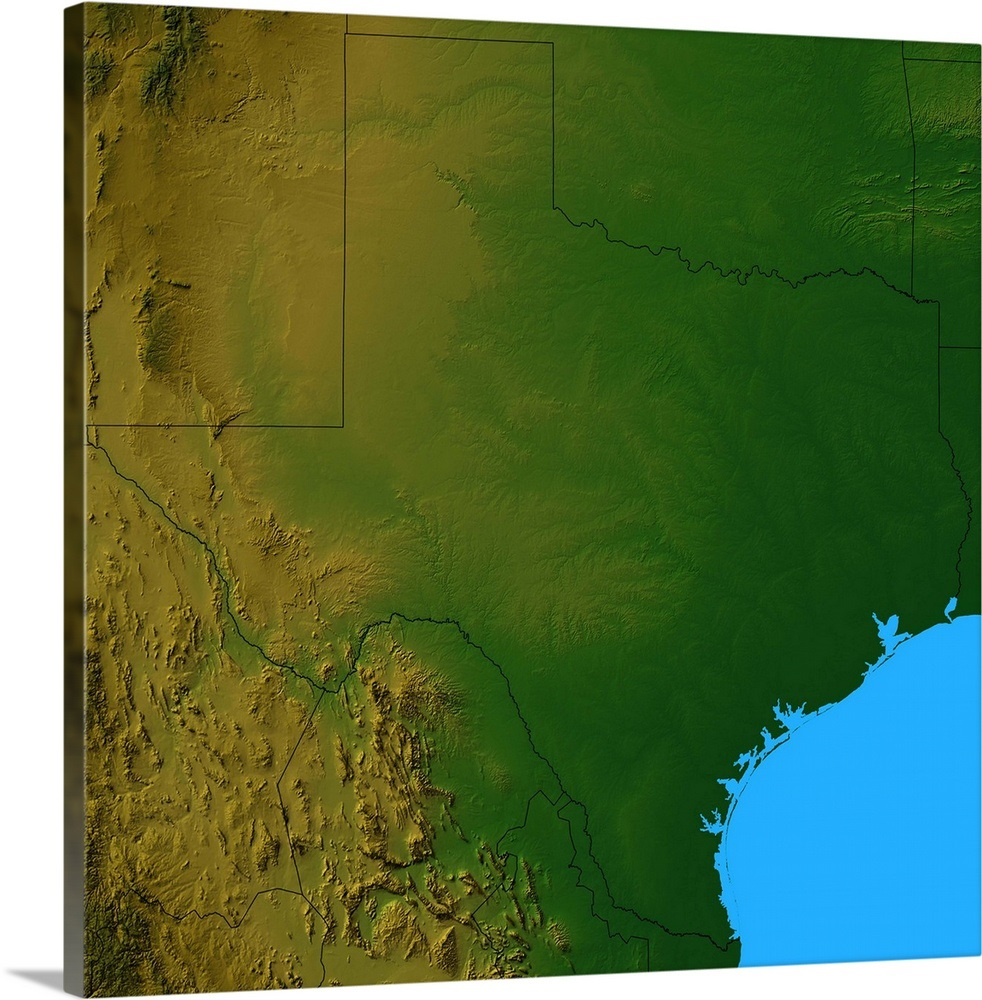 Topographic map of Texas Wall Art, Canvas Prints, Framed Prints ...