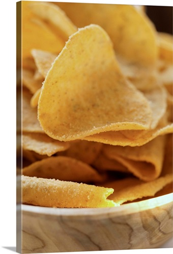 Tortilla chips in wooden bowl Wall Art, Canvas Prints, Framed Prints ...