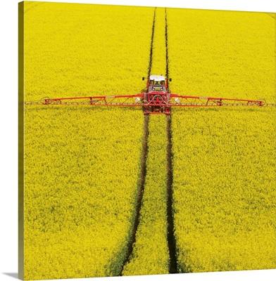 Tractor spraying rape seed crops Dorset, UK.