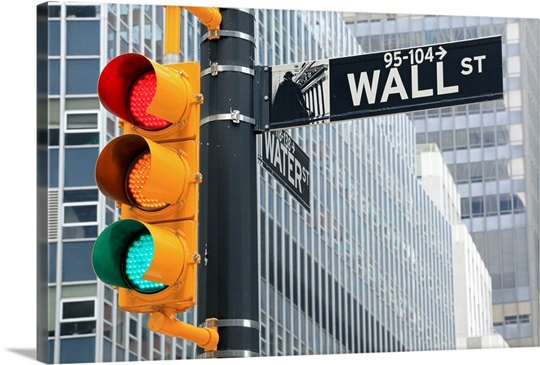 Traffic light and Wall Street sign, New York City, USA Photo Canvas ...