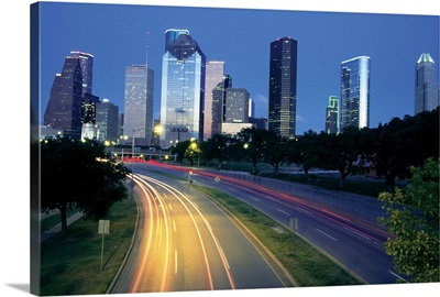 Traffic on the road at night, Allen Parkway, Houston, Texas