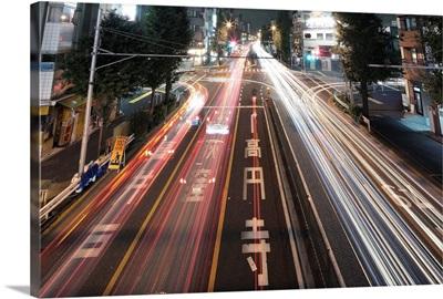 Traffic trails at night, Tokyo.