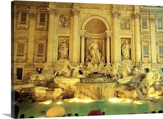 Trevi Fountain , Rome , Europe Wall Art, Canvas Prints, Framed ...