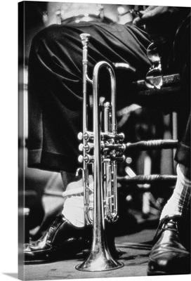Trumpet between jazz player's legs
