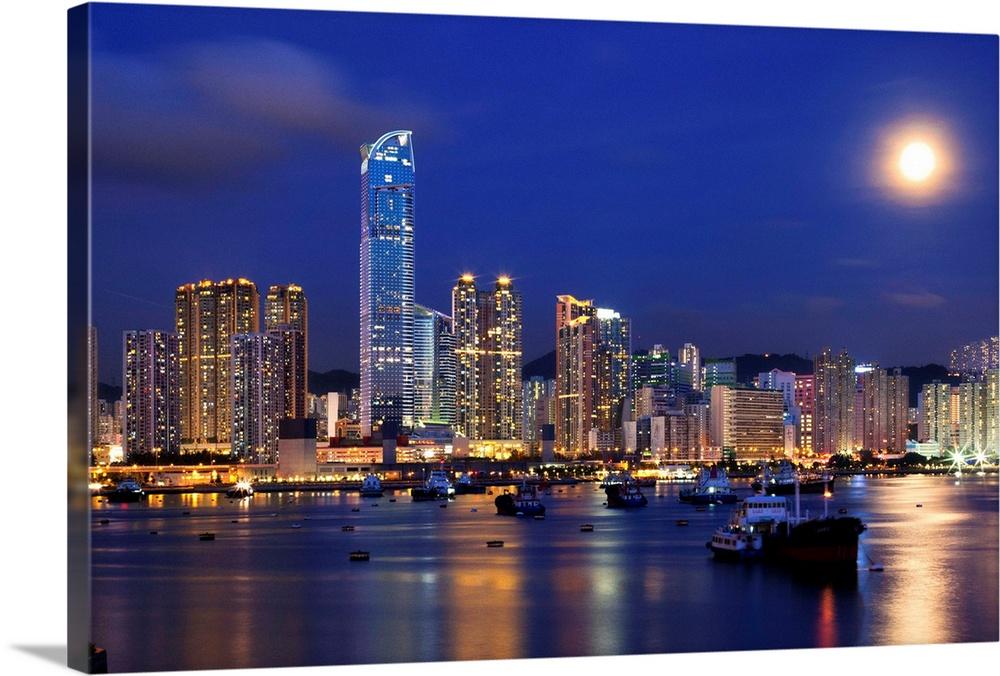 Tsuen Wan Bay At Night Hong Kong