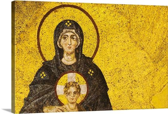Turkey, Istanbul, Mosaic of Virgin Mary and Jesus in Haghia Sophia ...