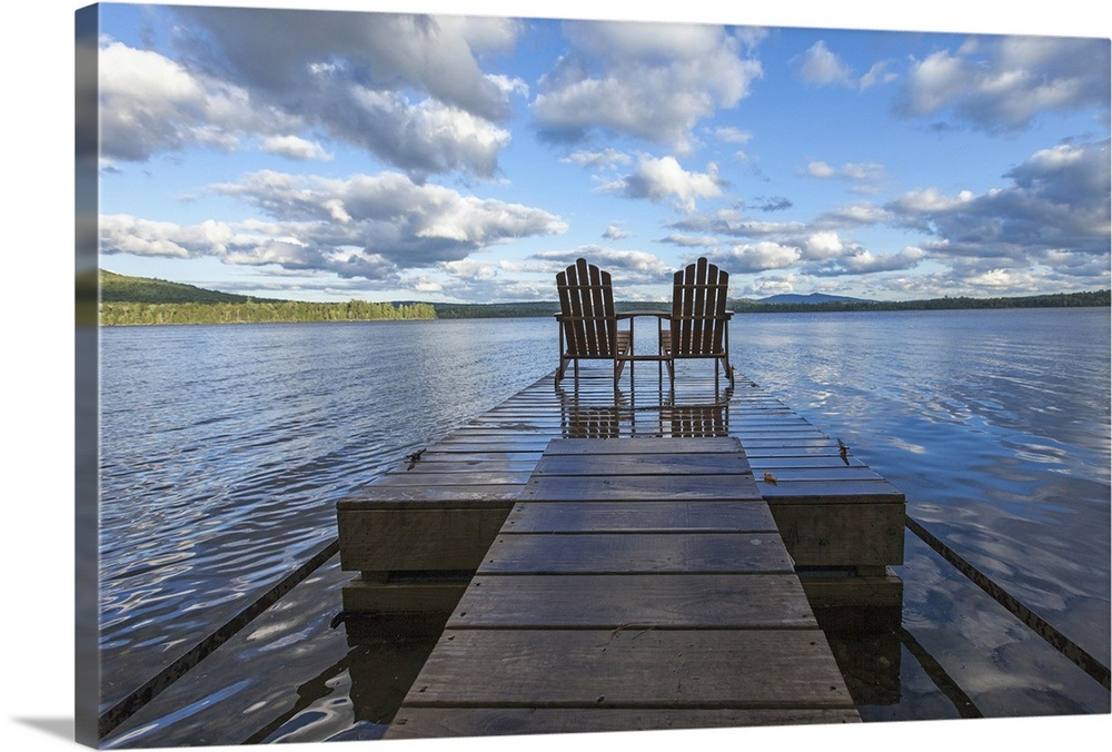 Two Adirondack Chair On A Dock At Spencer Pond In Northern