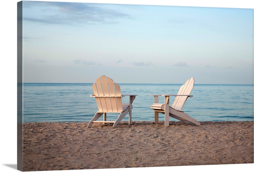 Genial Two Adirondack Chairs On The Beach