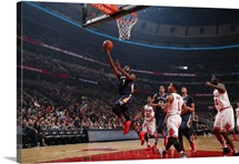Tyreke Evans 1 of the New Orleans Pelicans goes to the basket