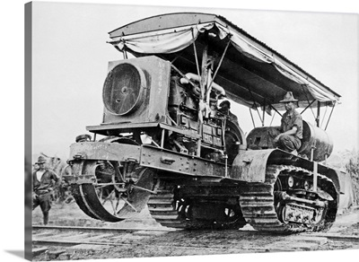 U.S. Army Soldiers Driving Tractor