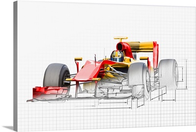 Unfinished drawing of red race car with driver