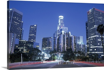 USA, California, Los Angeles, downtown at night (long exposure)