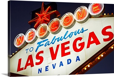 USA, Nevada, Las Vegas, low angle view of neon welcome sign