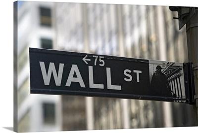 USA, New York City, Manhattan, Wall Street sign
