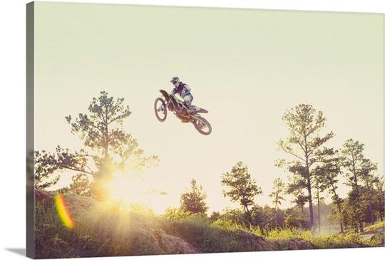USA, Texas, Austin, Dirt bike jumping