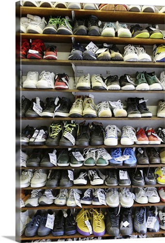 Various Types Of Footwear On Shelves Wall Art Canvas