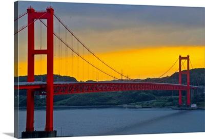 View of hirado bridge at sunrise.