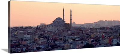 View of Istanbul cityscape at sunset.