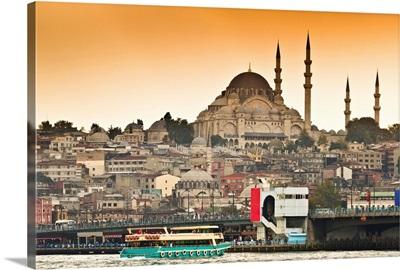 View of Suleymaniye mosque and Galata bridge over Bosphorus strait in Istanbul, Turkey.