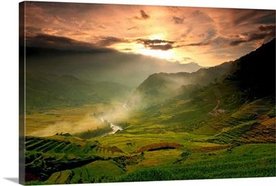 View of Tavarn village at sunset, Sapa, Vietnam.