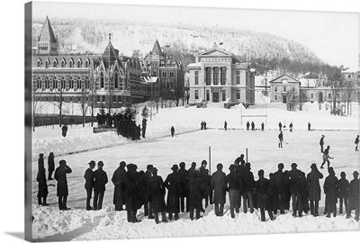 Vintage image of ice hockey game, Montreal