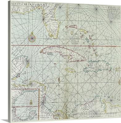 Vintage map of Caribbean islands