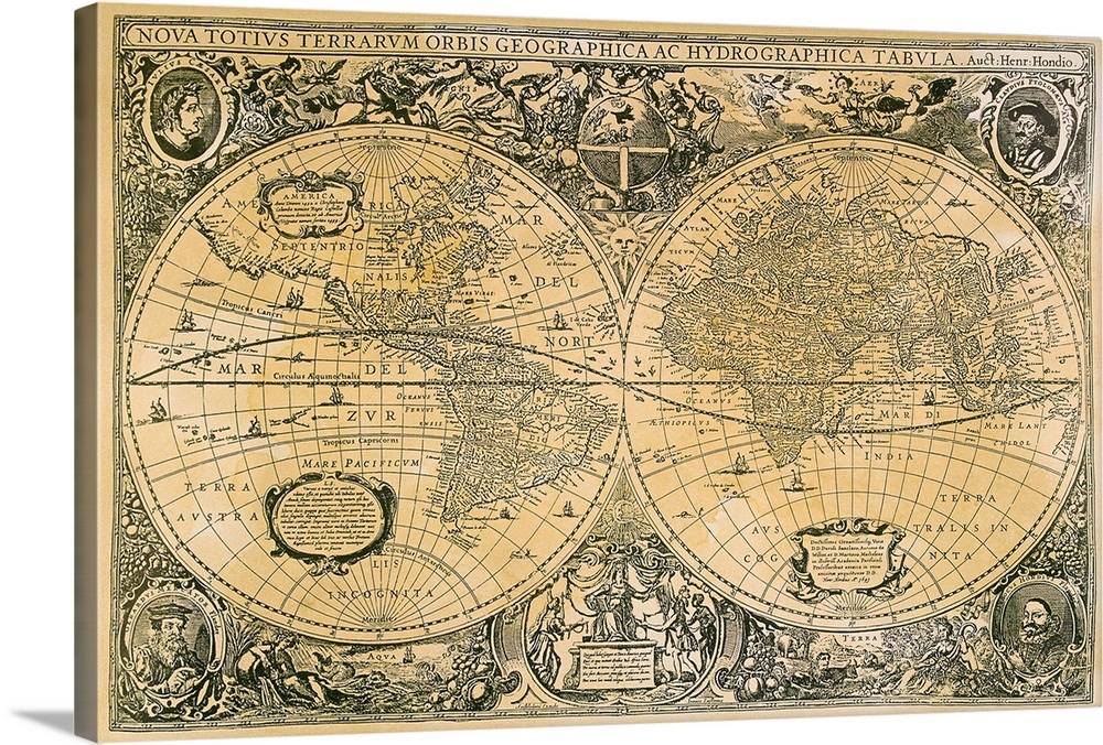 Vintage map of the world Wall Art, Canvas Prints, Framed ...