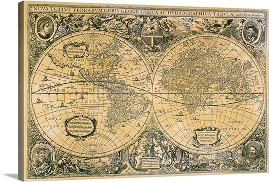 Vintage Map Of The World Wall Art Canvas Prints Framed Prints - Large sepia world map